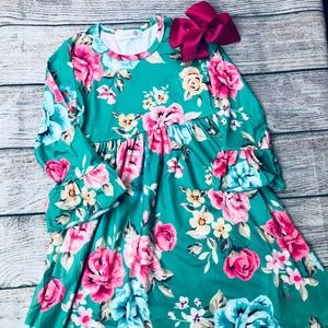 Girls size 4 teal/pink floral dress & bow